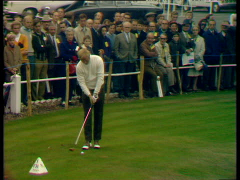 jack nicklaus drives off from 1st tee world matchplay championship final wentworth 1970 - rivalry stock videos & royalty-free footage
