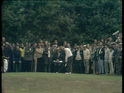 jack nicklaus lands tee shot on green of 2nd hole and backspin brings it to within 2 feet world matchplay championship final wentworth 1970 - pga world golf championship stock videos & royalty-free footage