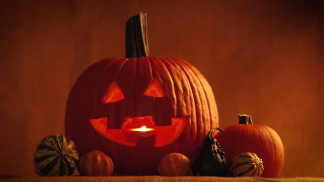 jack o' lantern decoration - gourd stock videos & royalty-free footage