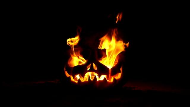 jack o lantern on fire - pumpkin stock videos & royalty-free footage