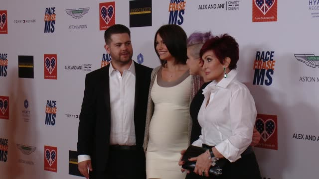 jack osbourne kelly osbourne sharon osbourne at the 22nd annual race to erase ms in los angeles ca - race to erase ms stock videos and b-roll footage
