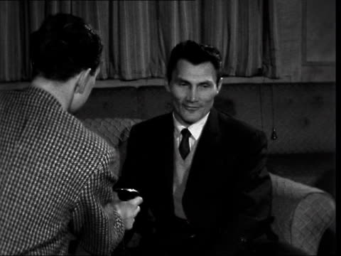 stockvideo's en b-roll-footage met jack palance interview; england: london: int jack palance interview sof - on new film 'ten seconds to hell' - 50 seconds or greater