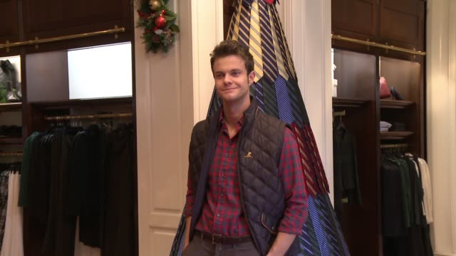 Jack Quaid attends the Brooks Brothers holiday party with St Jude Children's Research Hospital at Brooks Brothers on Rodeo Drive on December 5 2015...