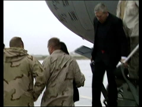 Jack Straw and Condoleezza Rice make surprise visit to Baghdad IRAQ Baghdad Baghdad Airport EXT Condoleezza Rice along down plane steps followed by...