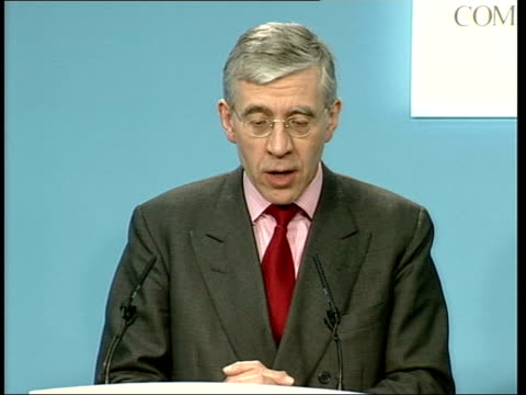 jack straw mp press conference sot i've only just heard news of this sent my condolences to relatives concerned seeking conformation - jack straw stock videos and b-roll footage