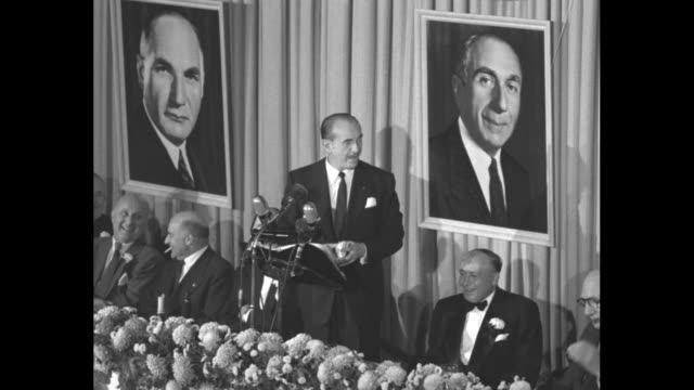 jack warner speaking from the podium at the waldorf astoria for the motion picture pioneers honoring of the 3 warner brothers - warner bros. stock videos & royalty-free footage