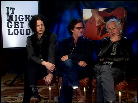 Jack White Davis Guggenheim and Jimmy Page on they see U2 and what sets them apart at the 'It Might Get Loud' Junket at Beverly Hills CA