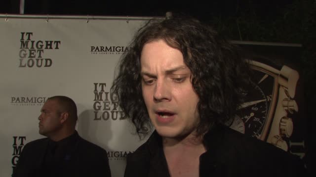 jack white on the film working with the edge and jack white his relationship with his guitar at the 'it might get loud' premiere party at los angeles... - david 'the edge' howell evans stock videos and b-roll footage