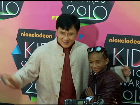 jackie chan and jaden smith at the nickelodeon's 23rd annual kids' choice awards - arrivals part 2 at los angeles ca. - jackie chan stock videos & royalty-free footage