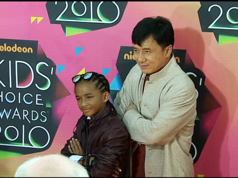 jackie chan and jaden smith at the nickelodeon's 23rd annual kids' choice awards arrivals part 2 at los angeles ca - jaden smith stock videos & royalty-free footage