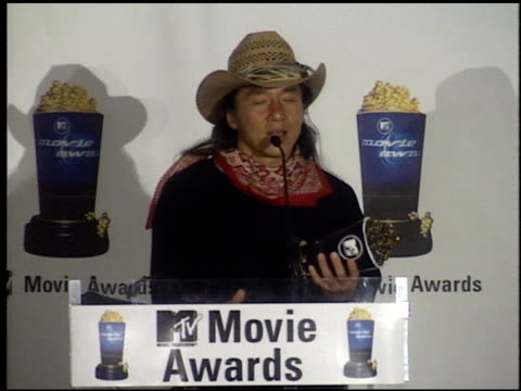 Jackie Chan at the 1999 MTV Movie Awards press room at Barker Hanger in Santa Monica California on June 5 1999