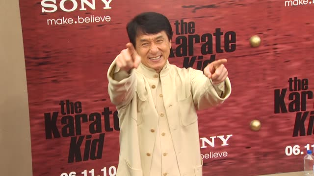 jackie chan at the 'the karate kid' premiere at westwood ca. - jackie chan stock videos & royalty-free footage