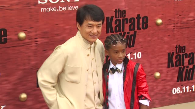 jackie chan, jaden smith at the 'the karate kid' premiere at westwood ca. - jackie chan stock videos & royalty-free footage