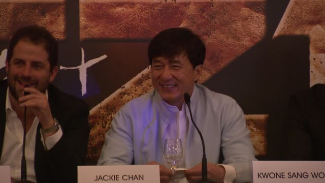 Jackie Chan on how long he would be doing action films his future plans at Chinese Zodiac Press Conference 65th Cannes Film Festival on May 18 2012...