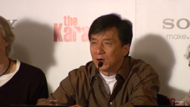 jackie chan on leaving the heavy martial arts behind and moving into more serious acting , on meeting will smith in japan and how everyone in... - jackie chan stock videos & royalty-free footage