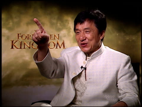Jackie Chan on not trying your own stunts at home at the 'Forbidden Kingdom' Junket at the Four Seasons Hotel in Los Angeles California on April 13...