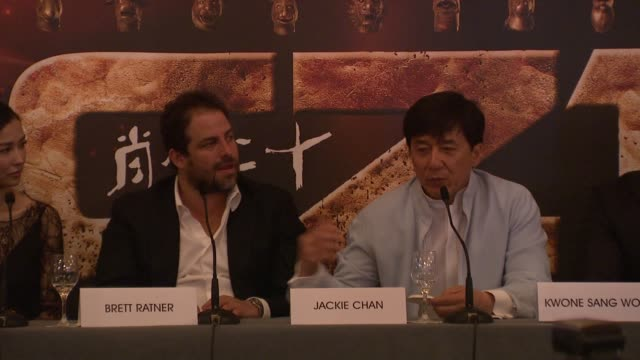 Jackie Chan on planning the stunts doing a stunt at Château de Chantilly at Chinese Zodiac Press Conference 65th Cannes Film Festival on May 18 2012...