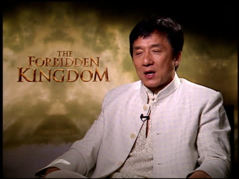 Jackie Chan on the story wanting to bring countries and cultures together via filmmaking at the 'Forbidden Kingdom' Junket at the Four Seasons Hotel...