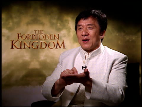 Jackie Chan on working with Jet Li and how they worked together at the 'Forbidden Kingdom' Junket at the Four Seasons Hotel in Los Angeles California...
