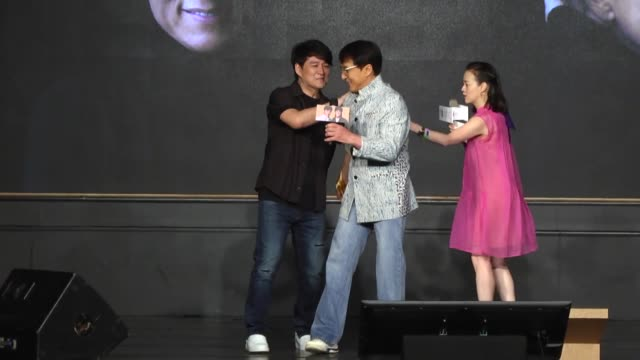jackie chan promotes new album i am me on june 12 2019 in taiwan china - アルバムのタイトル点の映像素材/bロール