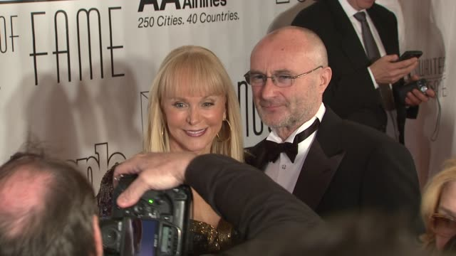 jackie deshannon and phil collins at the songwriters hall of fame 2010 annual awards gala at new york ny - phil collins stock videos & royalty-free footage