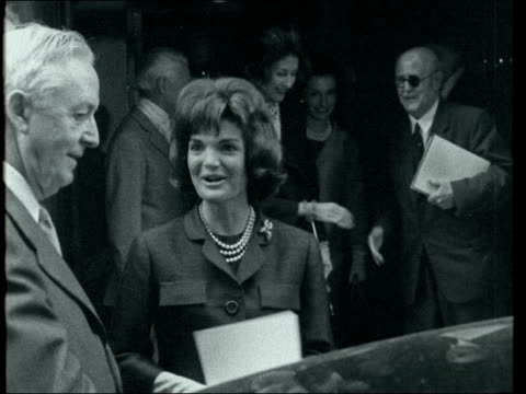 jackie kennedy visits antique dealers' fair in london england london grosvenor house various jackie kennedy and sister lee radziwill departure - jacqueline kennedy stock videos and b-roll footage