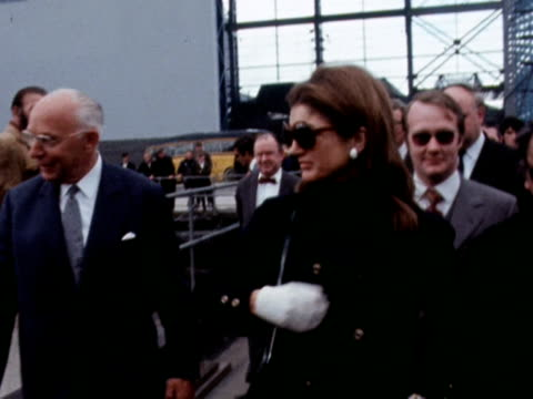 Jackie Onassis during visit to shipyard in Belfast