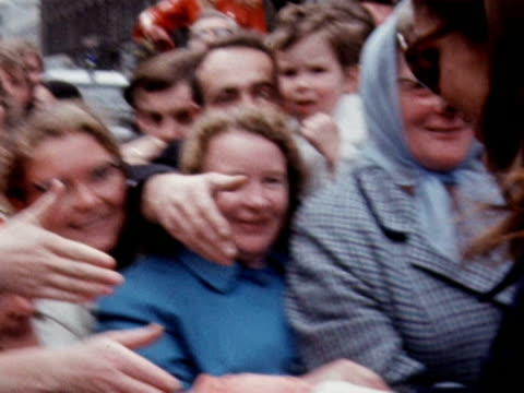 jackie onassis greets large crowd during visit to shipyard in belfast - jackie kennedy stock-videos und b-roll-filmmaterial