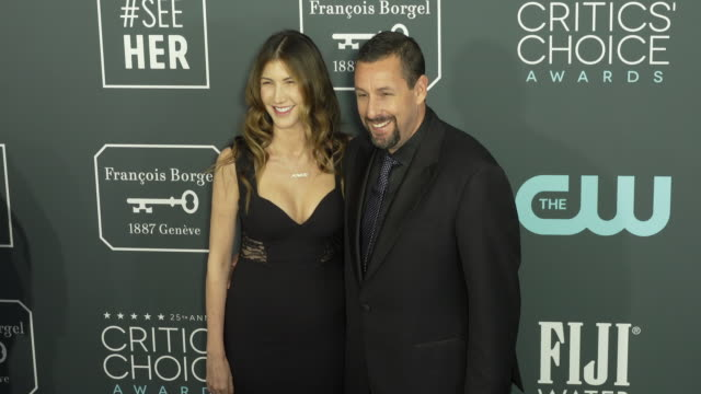 jackie sandler and adam sandler at the 25th annual critics' choice awards at barker hangar on january 12 2020 in santa monica california - adam sandler stock videos & royalty-free footage