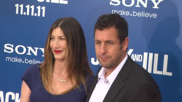 jackie sandler and adam sandler at the 'jack and jill' world premiere at westwood ca - adam sandler stock videos & royalty-free footage