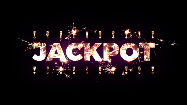"""jackpot"" text made of bengal lights - lotteria video stock e b–roll"