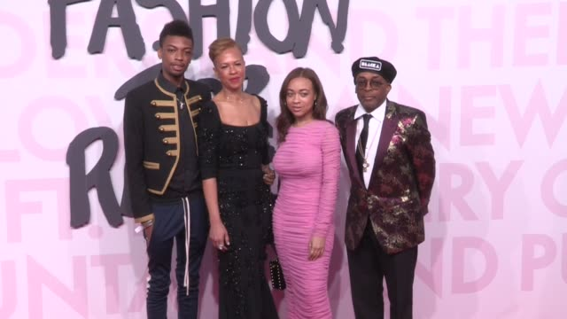 jackson lee, tonya lewis lee, satchel lee and spike lee on the red carpet of fashion for relief in cannes cannes, france on sunday may 13, 2018 - ファッションフォーリリーフ点の映像素材/bロール