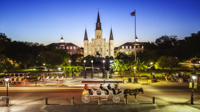 Jackson Square in New Orleans, Louisiana French Quarter at Night - Time Lapse