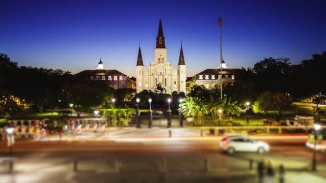 jackson square in new orleans, louisiana french quarter at night - time lapse - new orleans stock videos and b-roll footage