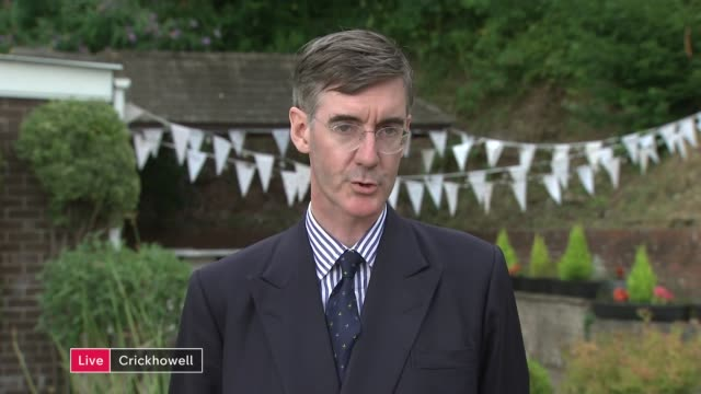 jacob reesmogg interview on donald trump visit and brexit england london gir int jacob reesmogg mp 2 way interview from crickhowell sot - crickhowell stock videos & royalty-free footage
