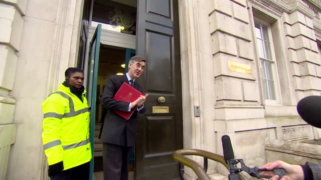 """jacob rees-mogg mp arriving at emergency cobra meeting about coronavirus, tells surrounding press """"wash your hands to the tune of the national anthem"""" - the media stock videos & royalty-free footage"""