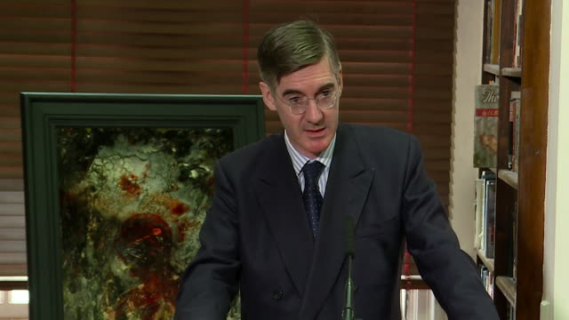 jacob reesmogg saying he believes the chequers brexit proposal needs to be changed but in regards to theresa may he is supporting the person - bbc video stock e b–roll