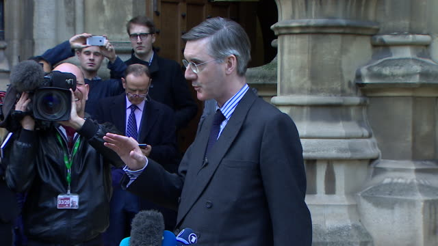 jacob reesmogg saying his letter of noconfidence in theresa may is not a coup as he used legitimate procedures and it is entirely constitutional - theresa may stock videos & royalty-free footage