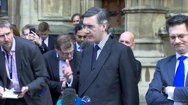 jacob reesmogg saying the difficulty in having a remainer in theresa may leading brexit is that compromises are made in a remain rather than a leave... - shy stock videos & royalty-free footage