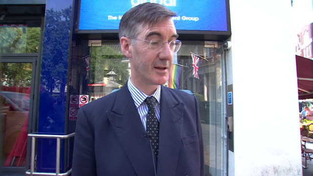 jacob reesmogg saying theresa may is prime minister and there is no mood to replace her but that the issue is with policy in regards to brexit - バッキンガムシャー点の映像素材/bロール