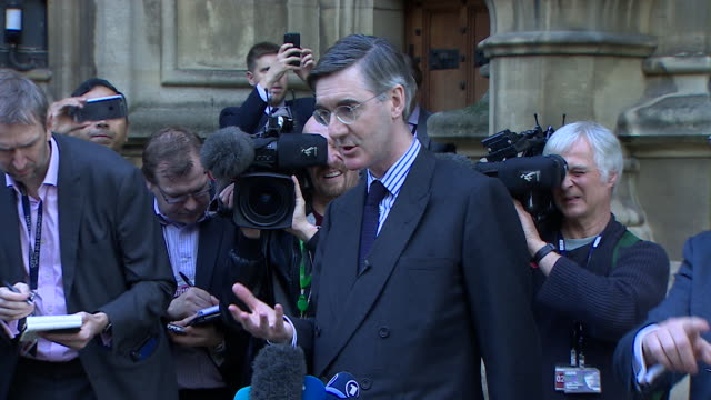 jacob reesmogg saying theresa may's draft brexit withdrawal agreement risks brexit because it's not a proper brexit - imitation stock videos & royalty-free footage