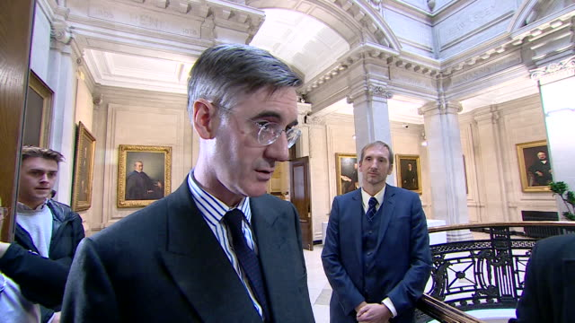 """jacob rees-mogg says about the brexit deal """"the prime minister has shown willingness to go back to the eu and they clearly want a deal"""" - mp stock videos & royalty-free footage"""