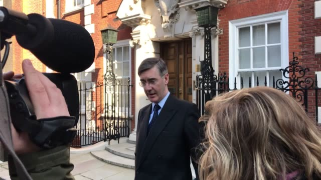Jacob ReesMogg stops for reporters outside of his Westminster home after the remaining 27 EU nations offered Theresa May a further six months to...