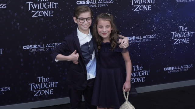 "jacob tremblay and erica tremblay at the premiere of ""the twilight zone' at the harmony gold preview house and theater on march 26, 2019 in... - harmony gold preview theatre stock videos & royalty-free footage"