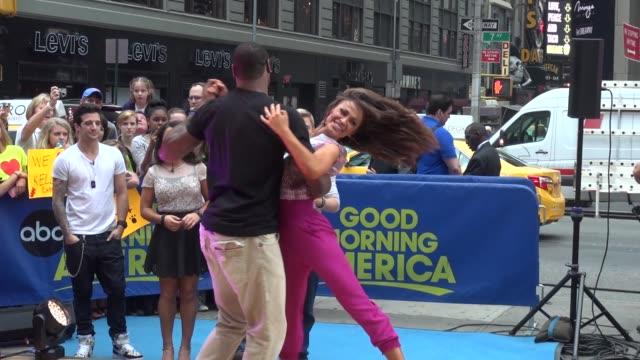 jacoby jones and karina smirnoff at the 'good morning america' studio in new york ny on 5/22/13 - karina smirnoff stock videos & royalty-free footage