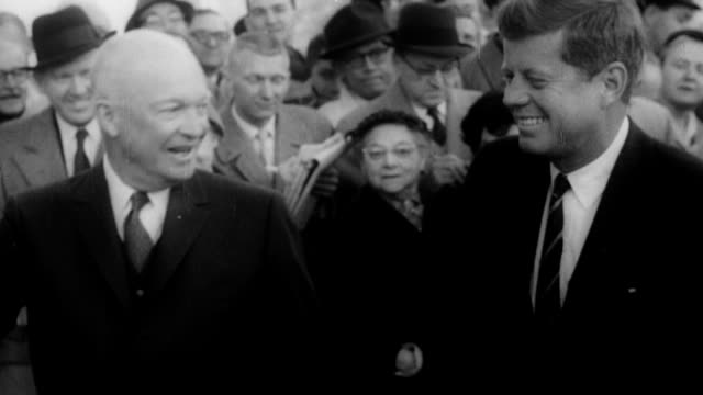 jacqueline kennedy and her husband john f kennedy smile and wave to supporters while on a campaign stop in new york new york on october 1 1960 /... - john f. kennedy politik stock-videos und b-roll-filmmaterial