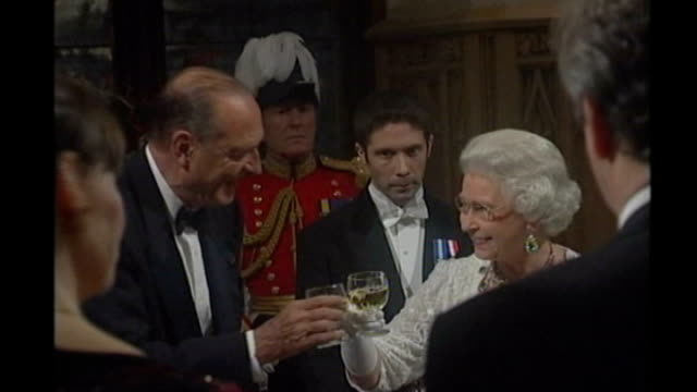 jacques chirac found guilty of corruption; lib / england: queen elizabeth ii and chirac toasting each other at state banquet - state dinner stock videos & royalty-free footage