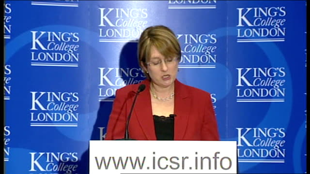 jacqui smith urges closing of extremist website speech england london int man introducing home secretary jacqui smith mp jacqui smith mp speech sot... - counter terrorism stock videos & royalty-free footage