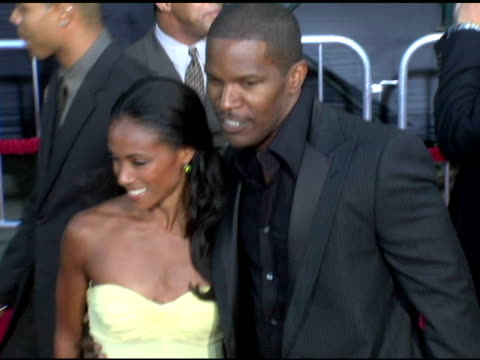 jada pinkett smith and jamie foxx at the 'collateral' los angeles premiere at the orpheum theatre in los angeles, california on august 2, 2004. - orpheum theatre stock videos & royalty-free footage