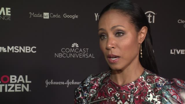 jada pinkett smith is on the advisory board of chime for change, on what being a global citizen means to her at 2016 global citizen festival in... - interview stock videos & royalty-free footage